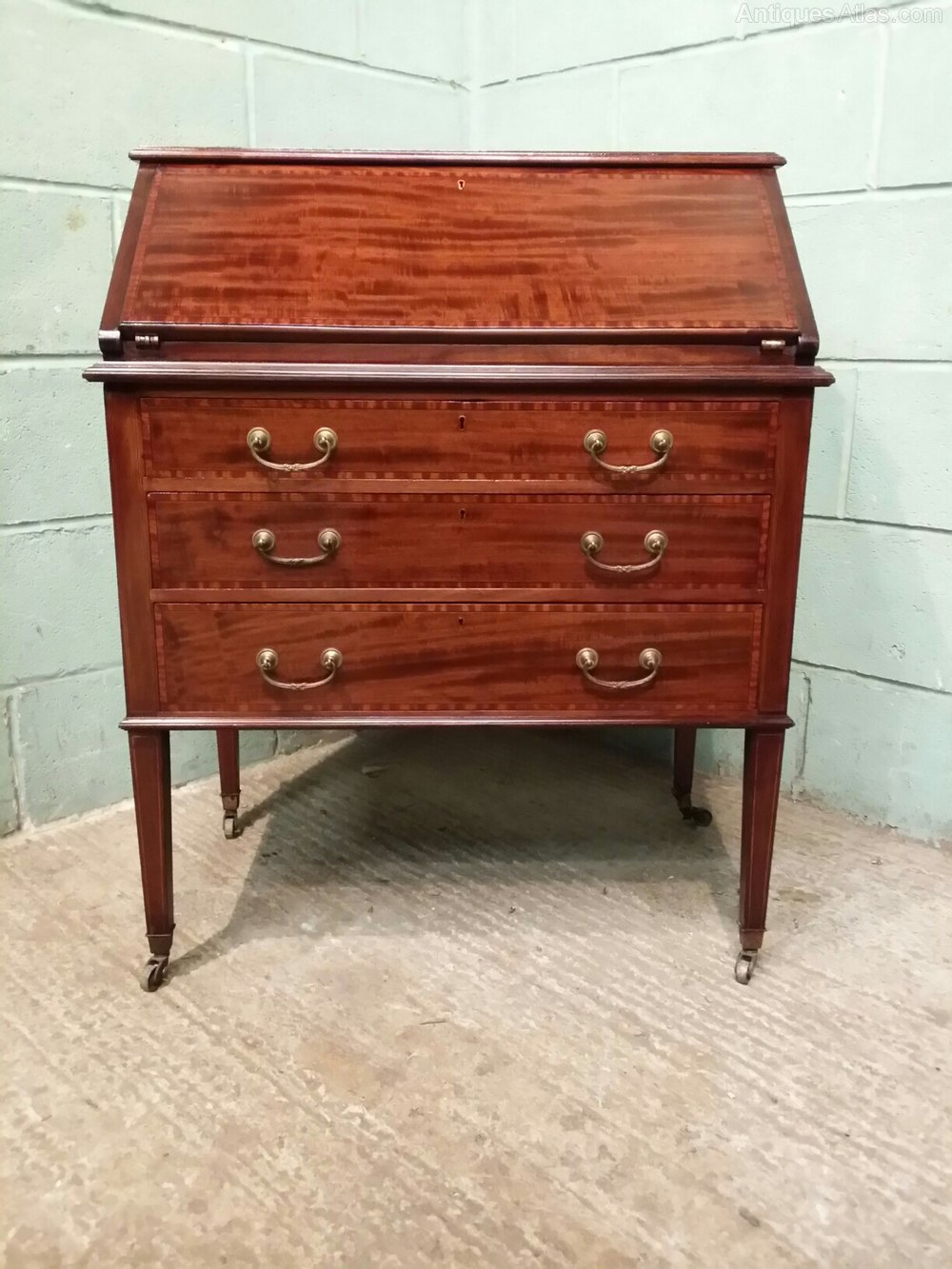 Antique edwardian inlaid mahogany bureau c1900 antiques for Bureau antique