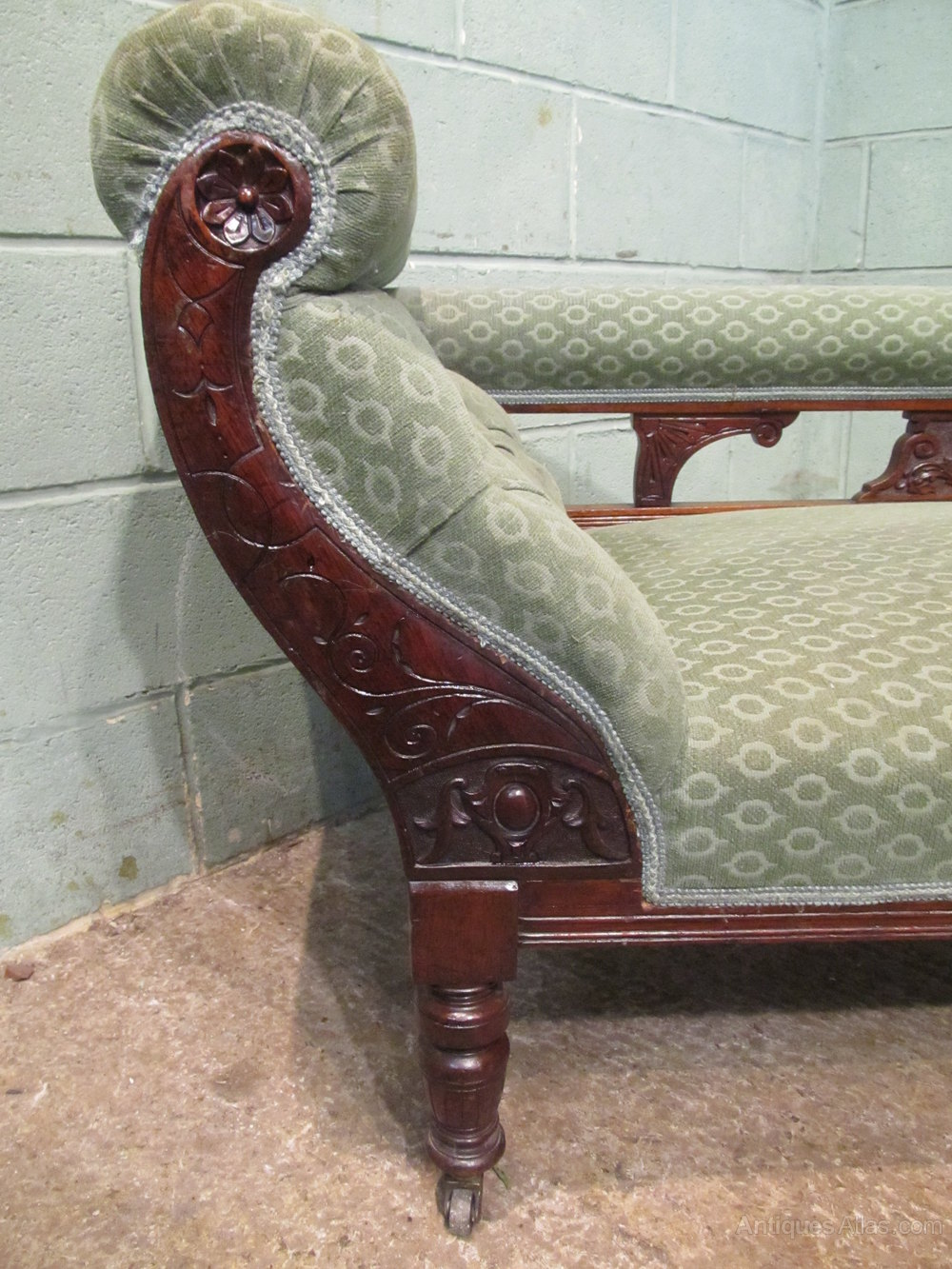 Antique edwardian mahogany chaise lounge c1900 antiques for Antique wooden chaise lounge