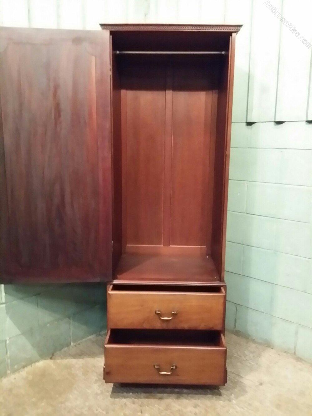 Antique Edwardian Tall Narrow Single Oak Wardrobe