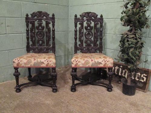 Antique Pair Carved Jacobean Oak Chairs ... - Antique Pair Carved Jacobean Oak Chairs - Antiques Atlas