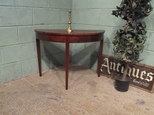 Antique regency mahogany demi lune side table antiques atlas for Table demi lune fer forge