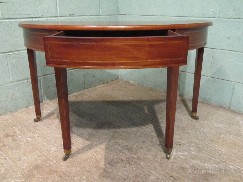 Antique regency mahogany demi lune table c1820 antiques for Table demi lune fer forge