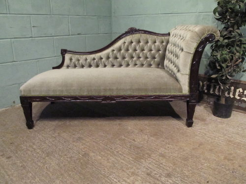 Antique victorian mahogany chaise longue antiques atlas for Antique chaise longue for sale