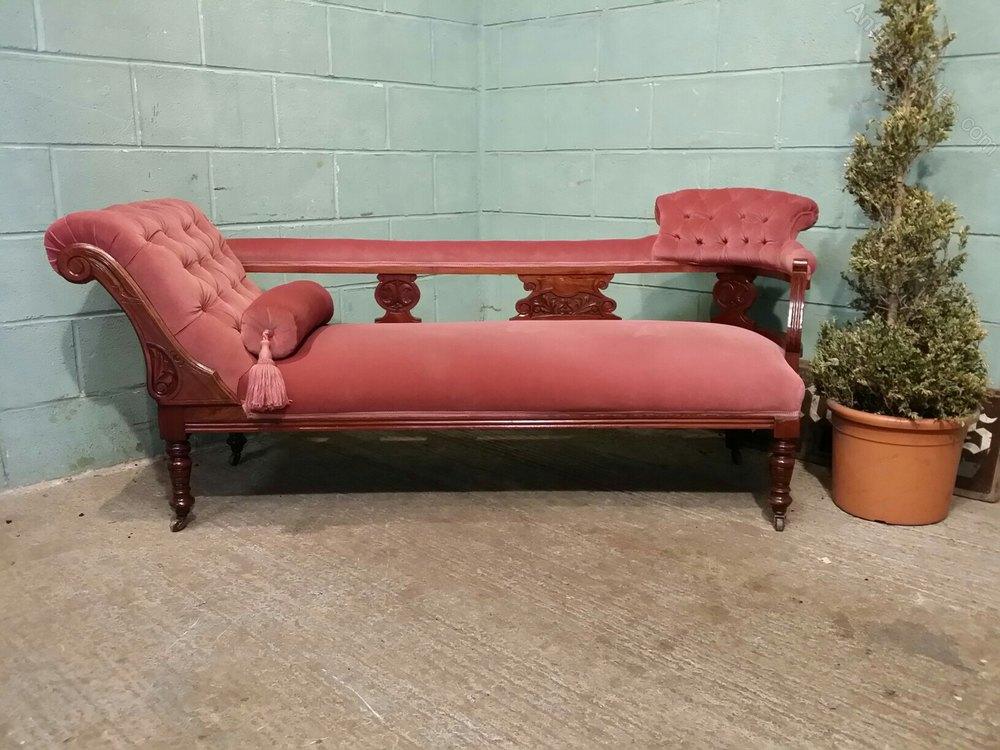 Antique victorian walnut chaise longue c1890 antiques atlas for Antique chaise longue for sale