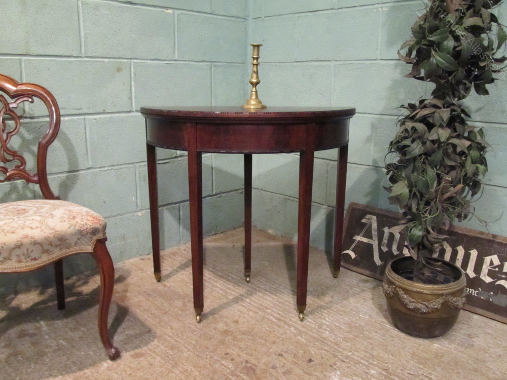 Edwardian mahogany fold over demi lune game table for Table demi lune fer forge