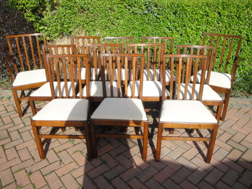 Set 10 Or 12 Antique Oak Dining Chairs