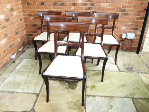 Set 6 Antique Regency Mahogany Dining Chairs