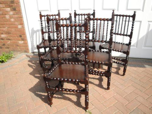 Set 6 Six Antique Oak Dining Chairs ...
