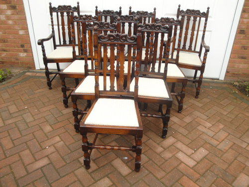 Set Ten Antique Oak Jacobean Style Dining Chairs