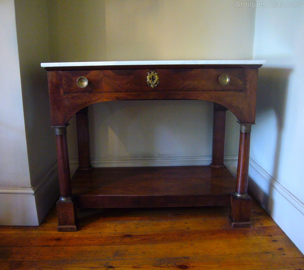 french empire walnut console table with replacement marble top good