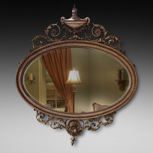 Adam Revival Giltwood and Gesso Mirror