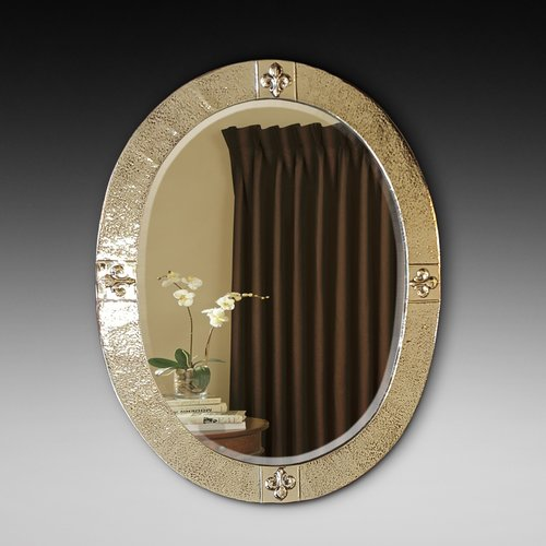 Arts and Crafts Beaten Brass Bevelled Mirror