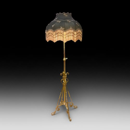 Arts and Crafts Brass Extending Standard Lamp