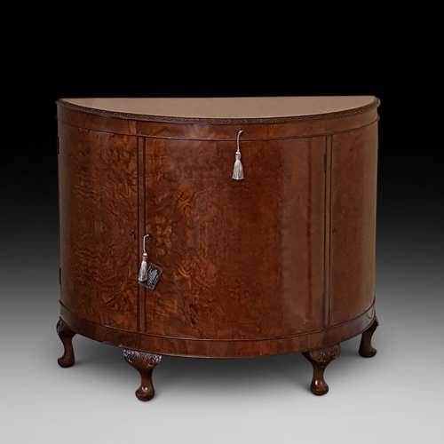 Burr Walnut Bow Fronted Cocktail Cabinet