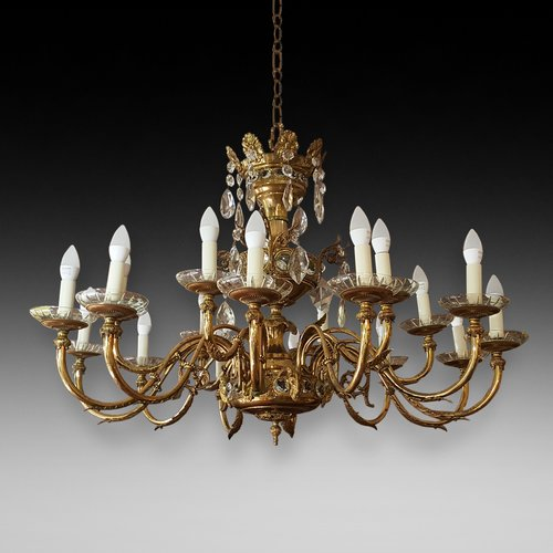 Early 20thC 18 Light Brass and Crystal Chandelier