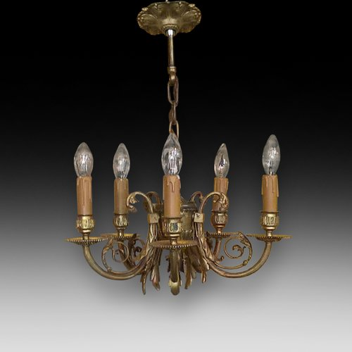 Early 20thC Gilt Metal 5 Arm Chandelier