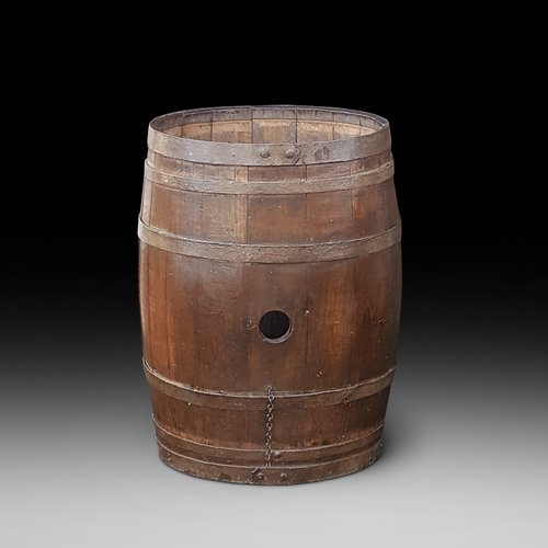 Early 20thC Iron Bound Coopered Barrel