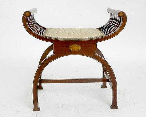 Chairs Antique Edwardian Mahogany Dressing Stool C.1910. Edwardian (1901-1910)