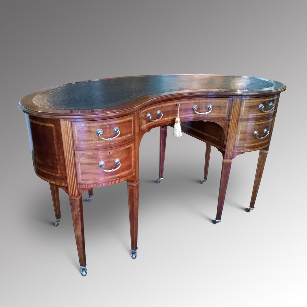 Edwardian inlaid mahogany kidney shaped desk antiques atlas for Kidney desk for sale