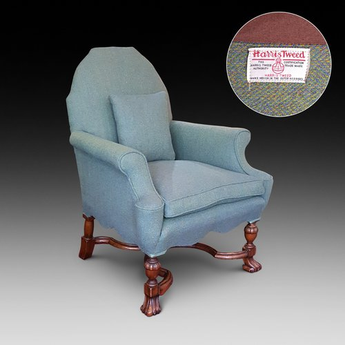 Edwardian Mahogany Armchair in Harris Tweed