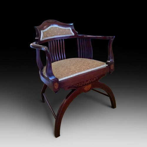 Edwardian inlaid mahogany armchair