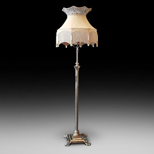 Late Victorian Adjustable Brass Standard Lamp