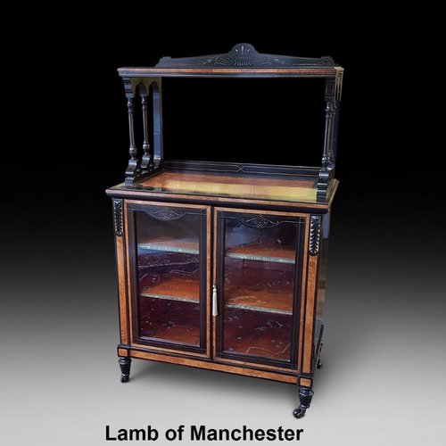 Late Victorian Amboyna and Ebonised Music Cabinet