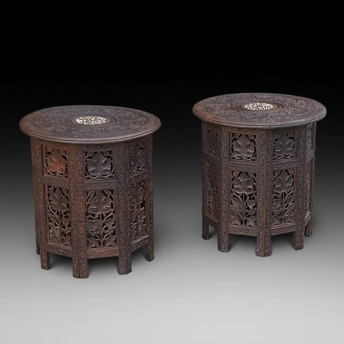 Pair Late 19thC Anglo Indian hardwood side tables