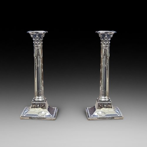 Pair of 19thC plated Corinthian column candlestick