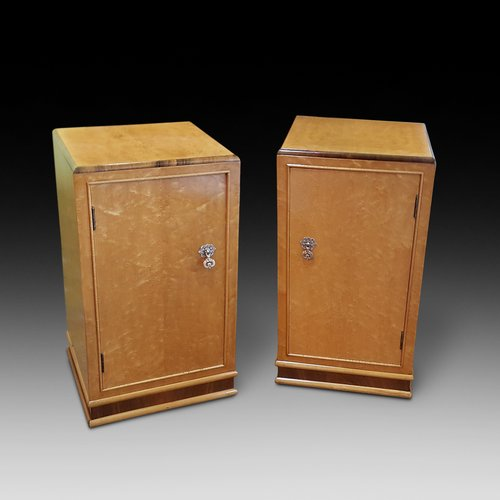 Pair of Art Deco Birdseye Mable Bedside Cabinets