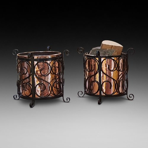 Pair of Arts and Crafts Copper and Iron Log Bins