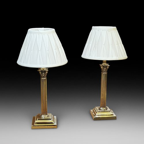 Pair of Brass Corinthian Table Lamps