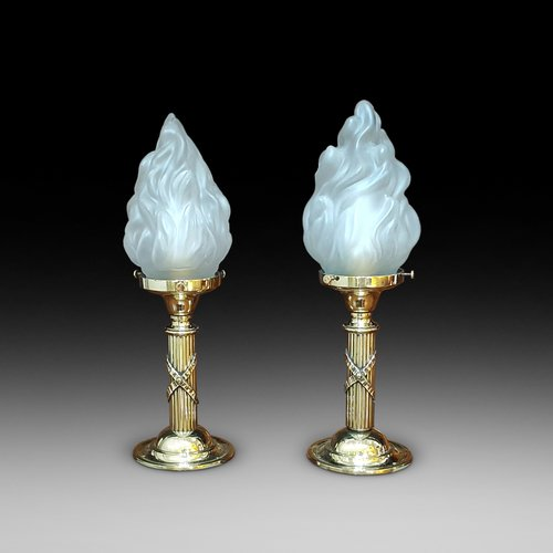 Pair of Brass Pullman Lamps