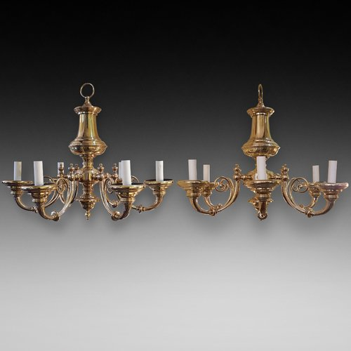 Pair of Brass Scroll Armed Chandeliers