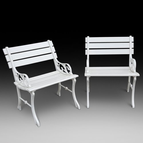 Pair of Cast Iron Garden Seats with reconditioned slats