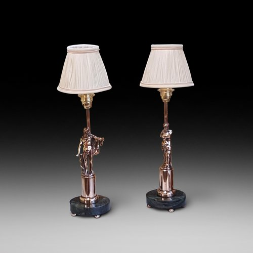 Pair of Copper Classical Statuettes Lamps