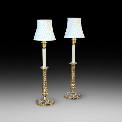 Pair of Early 20thC Cast Brass Table Lights