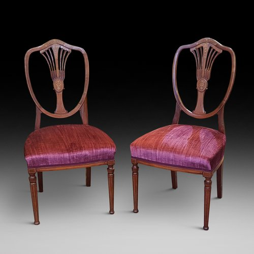 Pair of Edwardian Mahogany and Marquetry Chairs