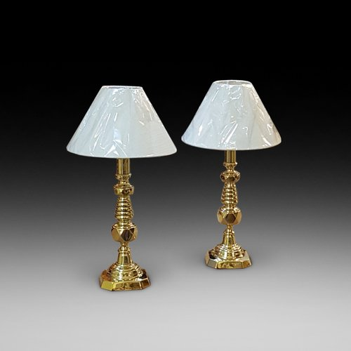 Pair of Large Edwardian Brass Candlesticks