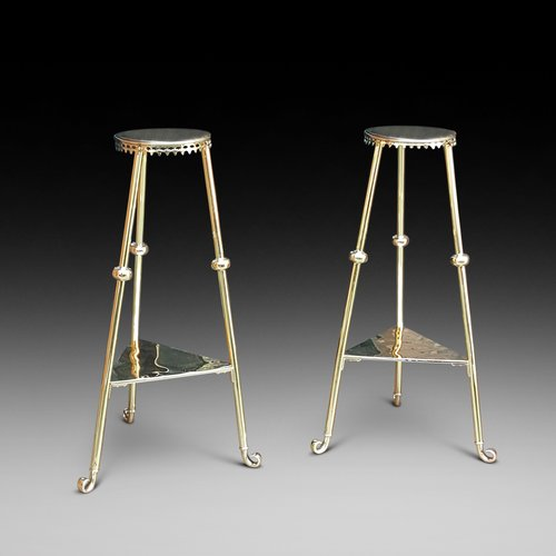 Pair of Victorian Brass Plant Stands
