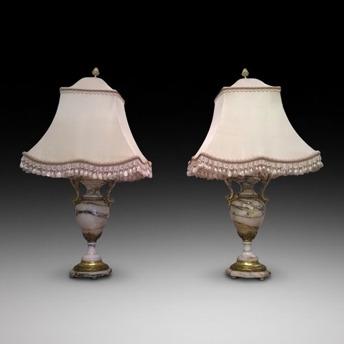 Pair of Victorian Carrara Marble Table Lamps