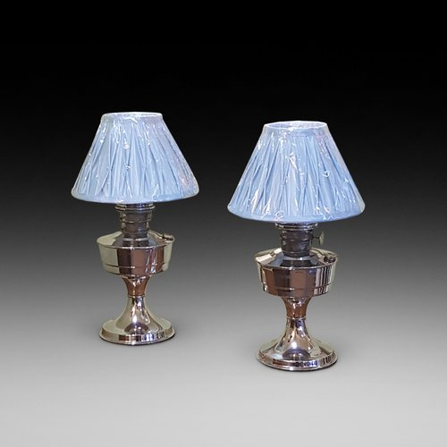 Pair of  Art Deco 1930's Chrome Parafin Lamps
