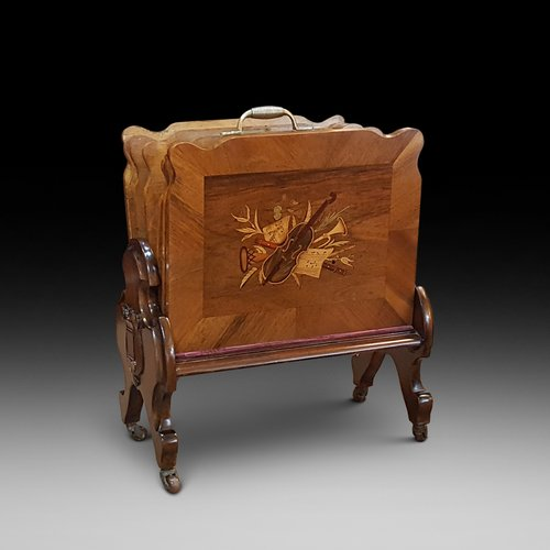 Victorian Inlaid Walnut Canterbury