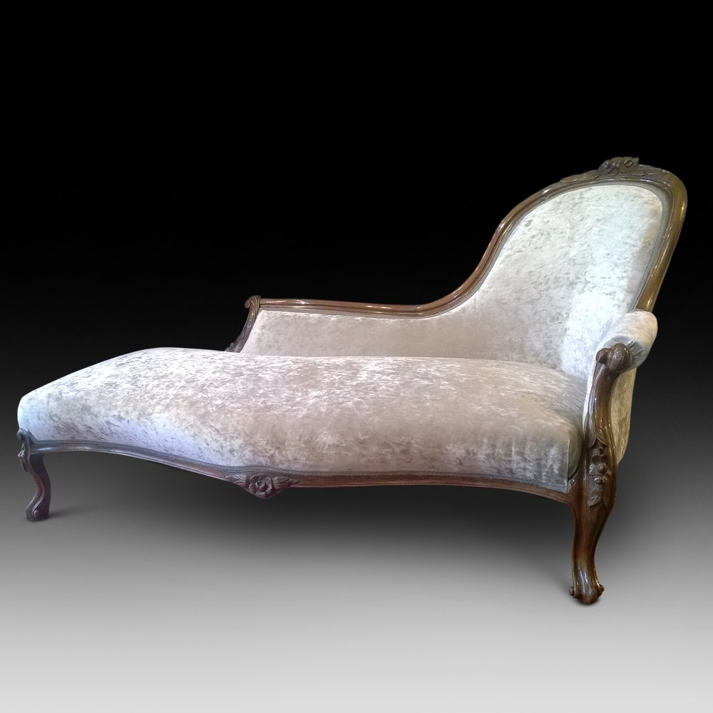 Victorian walnut chaise longue antiques atlas - Antique chaise longue ...