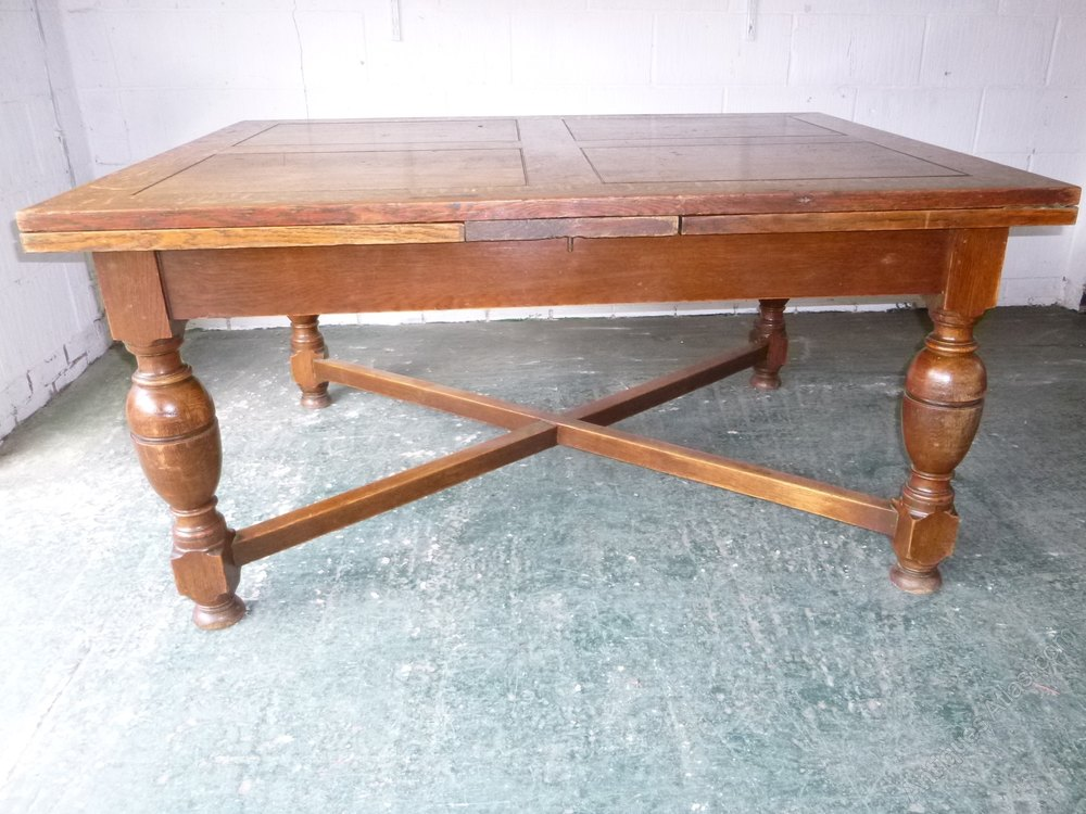 Extra Large 1930 S Oak Draw Leaf Extending Table