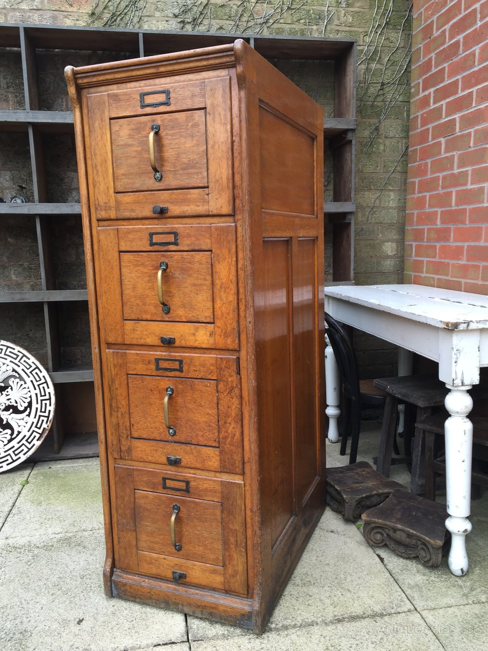 Oak 4 Drawer Filing Cabinet Antiques Atlas