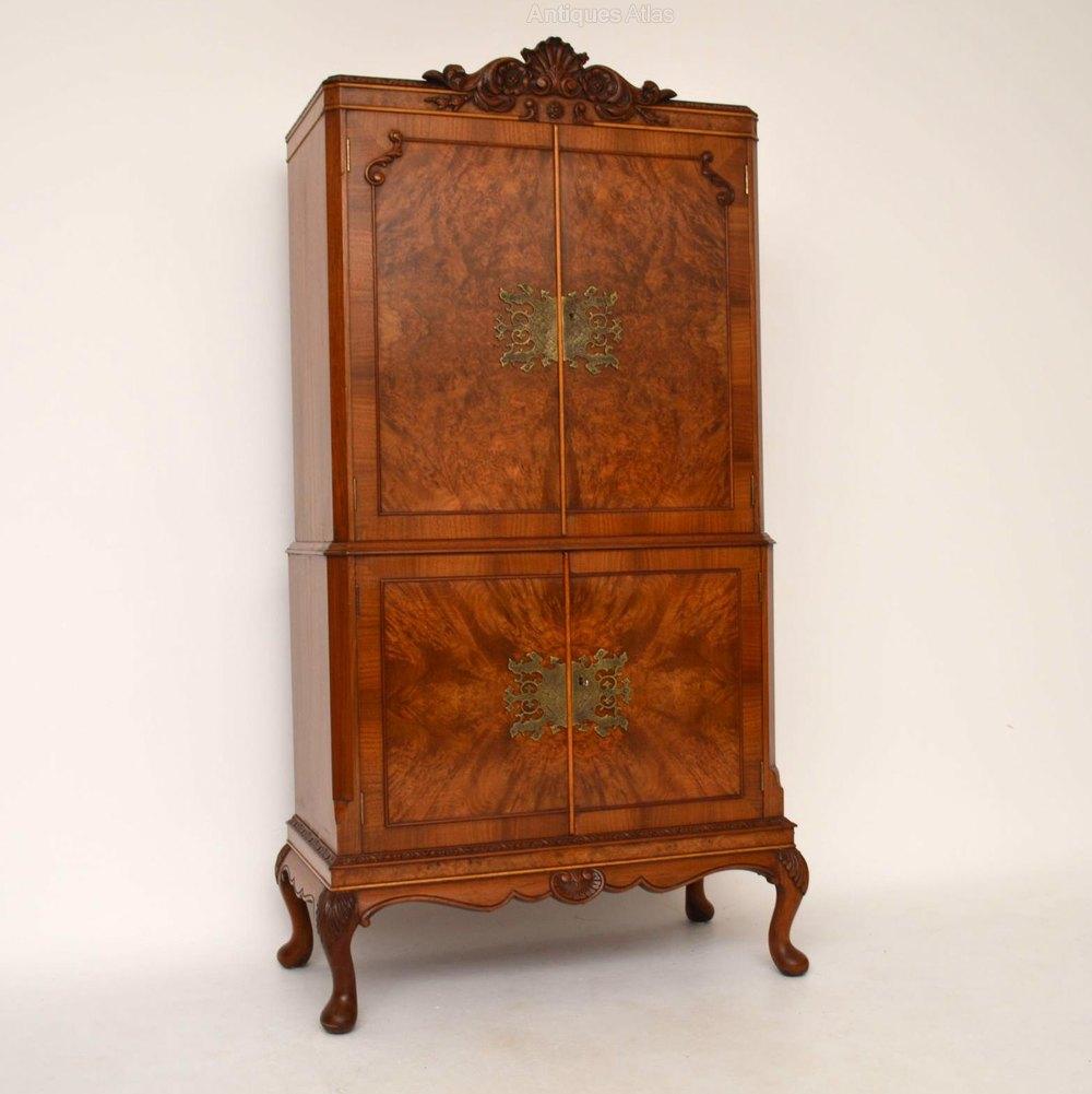 Antique Burr Walnut Cocktail Drinks Cabinet Antiques Atlas