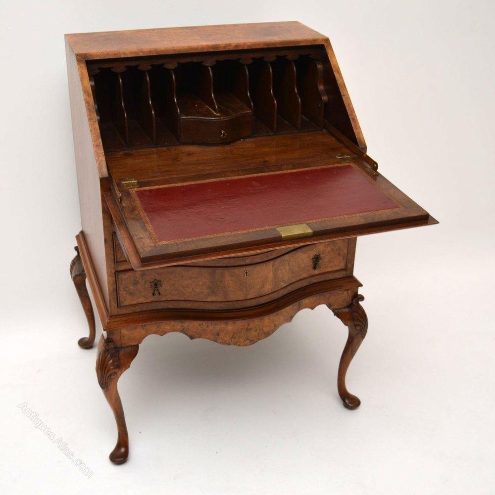 Antique burr walnut writing bureau desk antiques atlas for Bureau writing desk