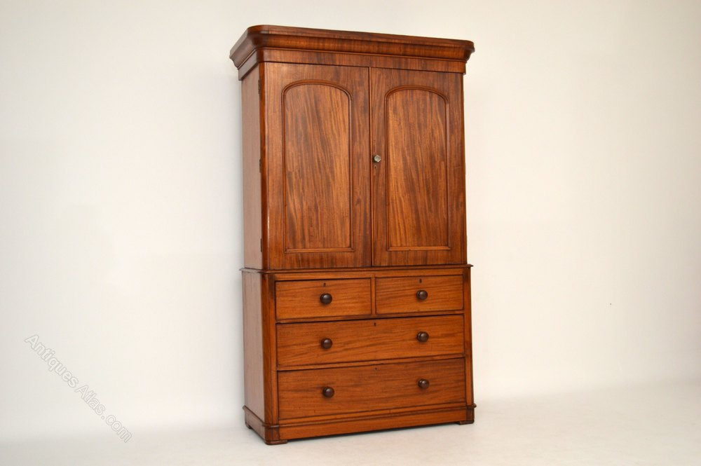 Antique classic victorian mahogany linen press antiques for Linen press
