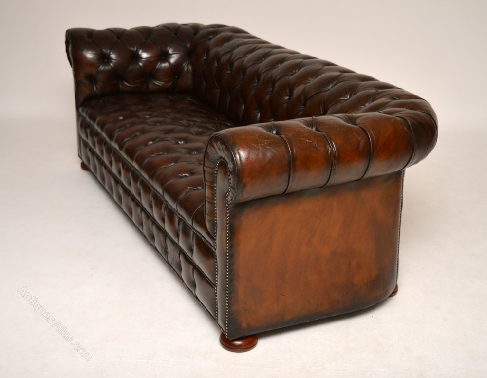 Antique Deep Buttoned Leather Chesterfield Sofa Antiques
